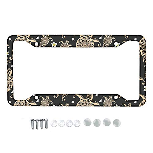 HUGS IDEA Auto Car Tag Frame for Women Men Gifts Metal License Plate Frame Holder Sea Turtle Flower License Plate Frame with 4 Holes and 4 Screws