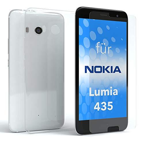 EAZY CASE Silikonhülle und Panzerglas im Set für Nokia Lumia 435 I Bildschirmschutzglas, Panzerglas nur 0,3 mm 9H Härte, Schutzhülle Ultra dünn, TPU/Silikon Hülle, Backcover, Transparent/Kristallklar