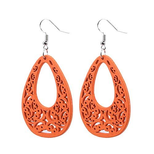 YHFJB Pendientes colgantes de gota de agua con símbolo de Bohemia para mujeres y niñas, color naranja
