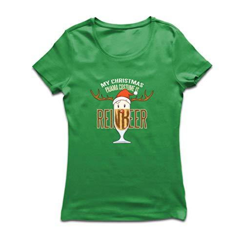 lepni.me Camiseta Mujer Reinbeer Disfraz de Pijama de Navidad, Regalos para Amantes de la Cerveza (Large Verde Multicolor)