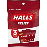 HALLS throat drops, Cherry Flavor, 1 bag, 3 On-the-go packs per bag (24 Drops Total)