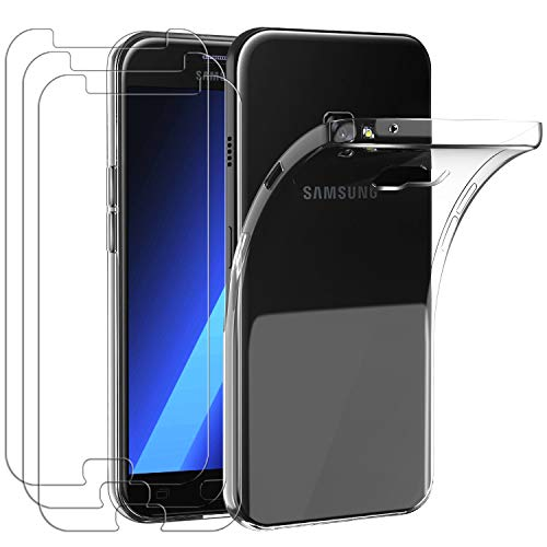 ivoler Coque pour Samsung Galaxy A3 2017 + 3X Film Protection écran en Verre trempé, Ultra Transparente Silicone en TPU Souple Coque de Protection avec Absorption de Choc et Anti-Scratch