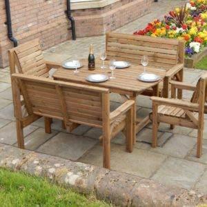 STAFFORDSHIRE GARDEN FURNITURE Gartenmöbel-Set aus Holz, 1,2 m, 1,8 m, 1,8 m, 2 Bänke und 2 Stühle, komplett montiertes Möbelstück