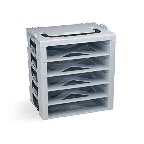 Bosch Sortimo i-BOXX Rack | Mit 5 Fächern grau | Regal Werkzeugkoffer klein | Werkzeugaufbewahrung System | Ideal für i-BOXX 72 & LS-Schublade 72