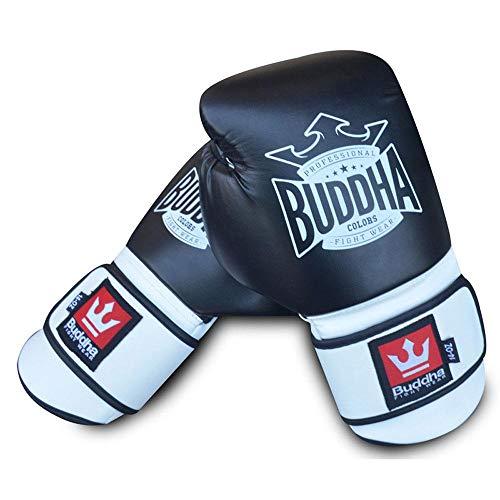 Guantes de Boxeo Muay Thai Kick Boxing Buddha Colors (12 Onz, Negro)