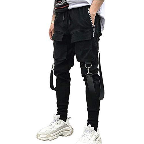 Herren Latzhose Cargo Chino Hose Jogginghose Skinny Hosen Sommer Trainingshose Multi-Tasche Sporthose Streetwear Hip Hop Gothic Steampunk Sweatpants Trekking Jogger Freizeit Laufen Schwarz Pants
