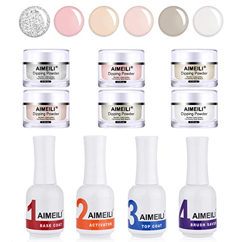AIMEILI Nail Dipping Powder Kits Immersione In Polvere con Base Top...