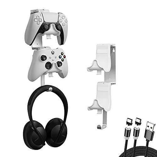 4 en 1 Support Mural pour Manette et Casque avec Câble de Charge Magnétique USB-C à 2 Voies et Tapis Antidérapant pour Contrôleur PS5 Xbox Series S X Switch Pro Support Universel