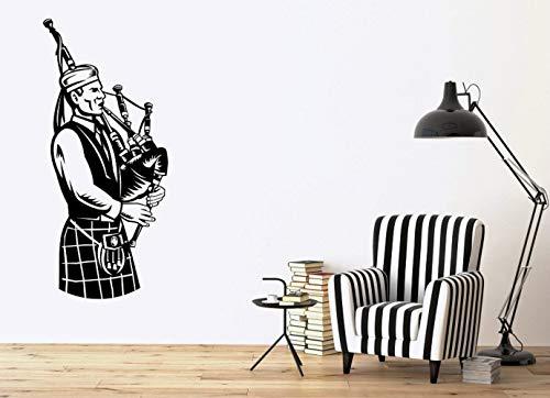 XCSJX Wall Vinyl Applique Músico escocés Música nacional Gaitas irlandesas Cartel Hogar Dormitorio Arte Diseño Decoración 42x94 cm