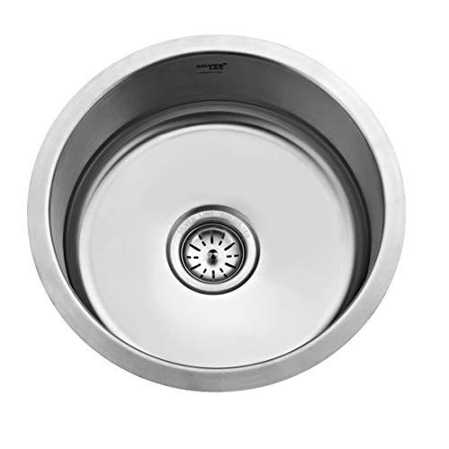 SILVER LINE Stainless Steel Matte Satin Finish Kitchen Sink Round Bowl - 17-1/2'