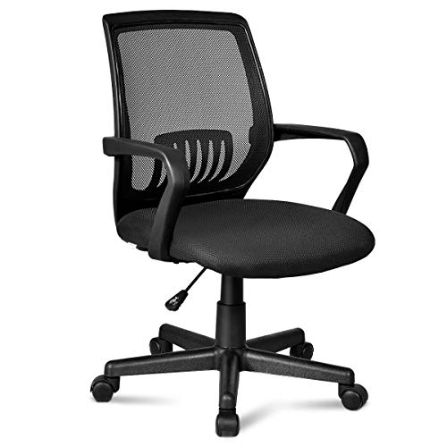 "Giantex Office Chair Mid-Back Mesh Chair with Armrest, Ergonomic Desk Chair Lumbar Support & Sponge Cushion Executive Adjustable Stool Rolling Swivel Chair for Back Pain (22.5"" x 22.5"" x 40'')"