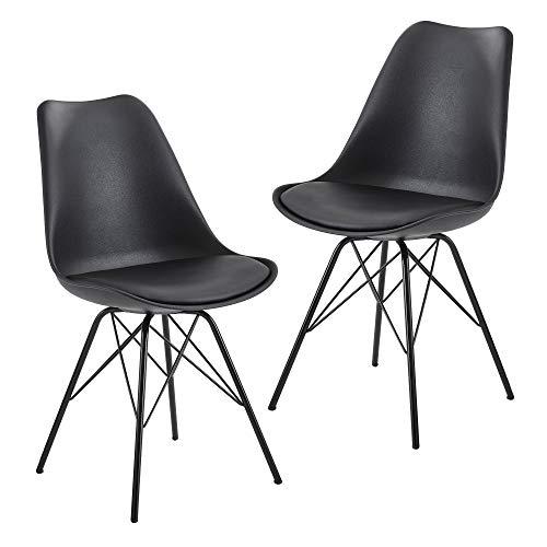 FineBuy Esszimmerstuhl 2er Set Schwarz Küchenstuhl Kunststoff Skandinavisches Design | Schalenstuhl mit Kunstleder-Bezug | Polsterstuhl Stuhl Gepolstert