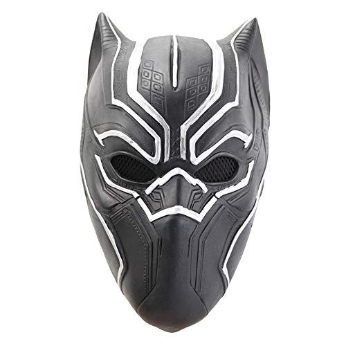Black Panther Helm Latex Maske Marvel Helden Cosplay Gesichtsmaske Erwachsene Kinder Zubehör Kostüme Halloween-Maskerade-Props,Black-OneSize