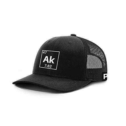 Printed Kicks AK-47 Periodic Table Back Mesh Hat America Gun Owner 2nd Amendment Supporter Gun Lover Hats (Black Front/Black Mesh)