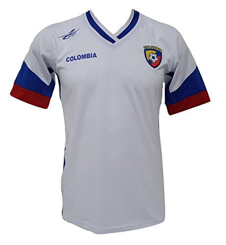 Camiseta de fútbol de Colombia para hombre, de la Nueva Copa América 2016 - Blanco - Medium