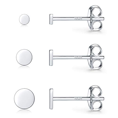 Silver Stud Earrings for Women Men Girls, 3 Pairs Tiny Flat Dot Earrings Set | Small Gold Round Disc Stud Earrings Dainty Cartilage Tragus Helix Circle Earrings (2mm/3mm/4mm)