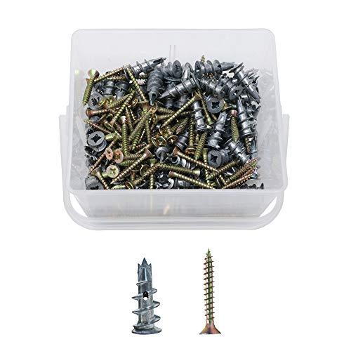 ORGRIMMAR Gipskartondübel Spiral Plus Metallperlen Driva Gipskartondübel 13x31mm 100 Pcs mit Schraube und Schrauben 4.5x35mm 100 Pcs Kasten