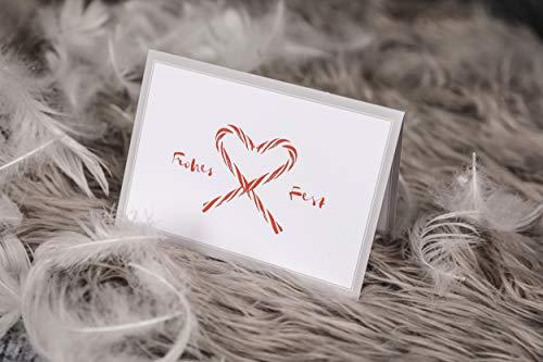 Weihnachtskarte mit Umschlag (1 Set) - Klappkarte mit Zuckerstangen Motiv für die schönsten Weihnachtsgrüße - Frohes Fest
