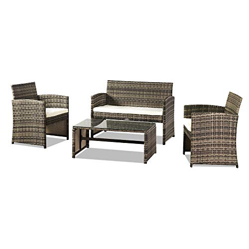 MASTLU 4-Piece Patio Conversation Bistro Set, Outdoor All-Weather Wicker Furniture for Porch, Backyard w/ 2 Wide Ergonomic Chairs, Cushions, Glass Top Side Table (Gray)