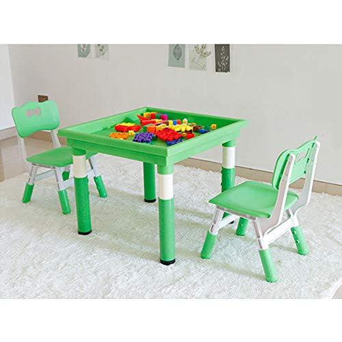 WH-IOE Mehrzweck-Aktivitäten-Tisch Kinderspiele Baby Spezial Raum Spielzeug Sand Tabelle Plastikaußen Stall Tabelle Kid Spieltisch für Babys Kleinkinder (Color : Green, Size : 60 x 60cm)
