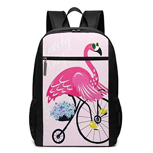 Schulrucksack Flamingo Sonnenbrille Vogel Fahrrad, Schultaschen Teenager Rucksack Schultasche Schulrucksäcke Backpack für Damen Herren Junge Mädchen 15,6 Zoll Notebook