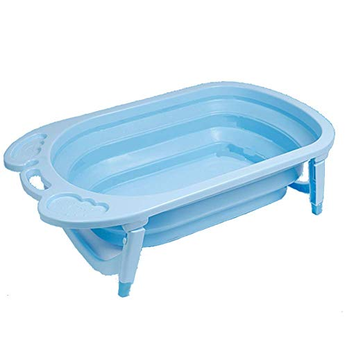 Guotail Plegable bañera de bebé-portátil Antideslizante Ducha Lavabo de Gran tamaño recién Nacido Puede Sentarse y mentir Cubo de baño,Blue