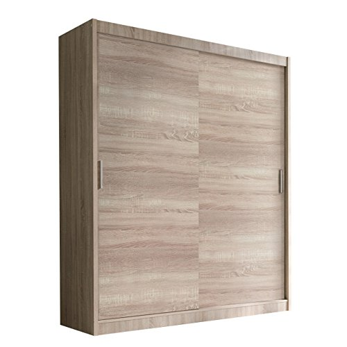 Schwebetürenschrank Alfa Kleiderschrank mit Spiegel, Modernes Schlafzimmerschrank, Schiebetür Schrank, Schlafzimmer (150 cm - ohne Spiegel, Eiche...