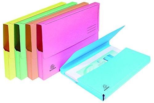 Exacompta 47970E Gamme Super Paquet de 10 chemises poche en carte 210 gr avec soufflet de 3,2 cm rabat avec impression de lignes. Coloris assortis ( bleu clair, bulle, jaune, rose et vert clair)