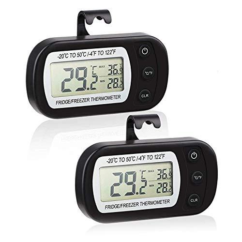 ZHITING 2 Pack Thermomètre numérique pour réfrigérateur fonction d'enregistrement Max/Min thermomètre étanche pour congélateur avec crochet,-20°C à +50°C Grand Écran LCD (black)