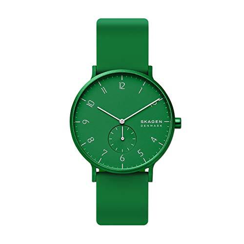 Skagen Aaren Kulor Reloj de Cuarzo analógico con Correa de Silicona Verde para Hombre - SKW6545