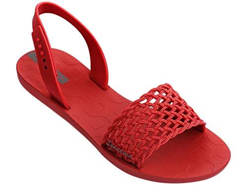 Ipanema Breezy Sandal 82855 Sandalen Damen Zehen-Sandale Gummi-Sandalen Zehentrenner Knöchelriemchen T-Spangen offene Zehe Strap Steg Flipflops-Sandale (Red, 38)