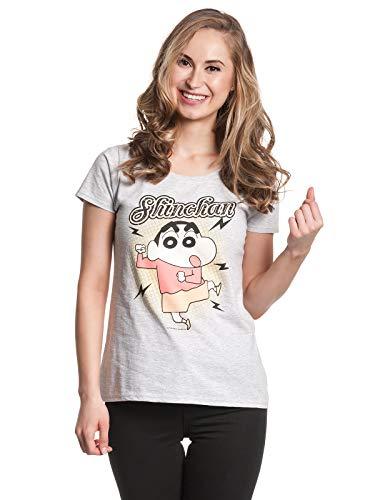 Shin Chan Dance Mujer Camiseta Gris/Melé XL, 97% algodón, 3% Poliester, Regular