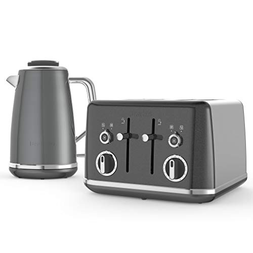 Breville Lustra Kettle & Toaster Set with 4 Slice Toaster & Electric Kettle (3kW Fast Boil), Storm Grey