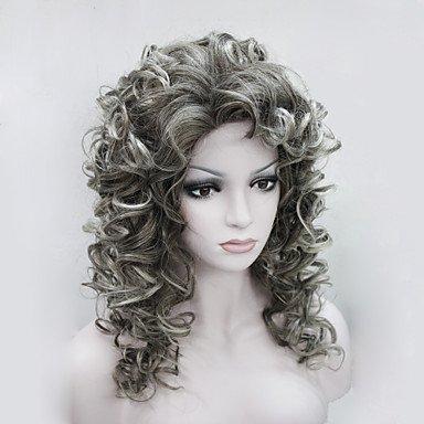 Gzhuang nouveaux Mode Charme 50 cm Brun Mix Pointe Gris pour femme bouclés perruque synthétique