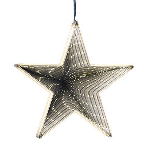 LED Nachtlicht Stern mit Timer, Hellum Deko Tisch Lampe Warmweiß zum Hängen oder Stellen, Batterie-Betrieb, Nachtlicht Baby & Kind, 3D Infinity Effekt, 576207