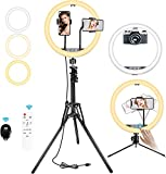 BESTOPE 12' Selfie Ring Light with 2 Tripod Stand&2 Cell Phone Holders 3 Color Modes 10 Adjustable Brightness, for Photo/Makeup/Live Stream/YouTube/Vlogs, Bluetooth Remote, Compatible for iOS/Android