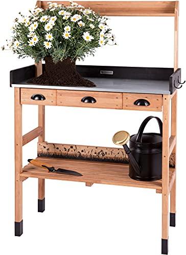 WONDERMAKE Pflanztisch aus Kirschbaum Holz mit Schubladen wetterfest, Garten-Arbeitstisch groß für Outdoor draußen Balkon hochwertig, CO2-neutral, 85 x 45 x 130 cm XL, dunkel-braun-schwarz