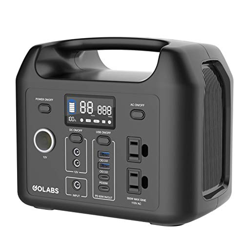 VOLO 300W Portable Power Station, 299Wh/3.2V 93500mAh Camping Battery Pack, PD 60W and QC3.0 30W Pure Sine Wave 2AC 110V/ 2QC3.0 USB/ 2DC/ 1Car Charger Port/Flashlight for Outdoor Home Emergency