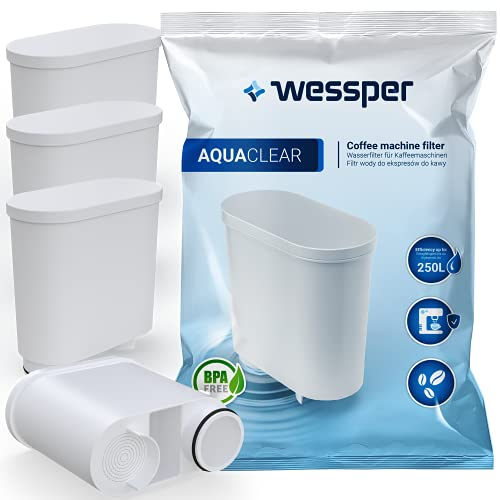 Wessper AquaClear - Juego de 4 filtros de agua para cafeteras automáticas Saeco y Philips AquaClean CA6903/10 CA6903/22 CA6903