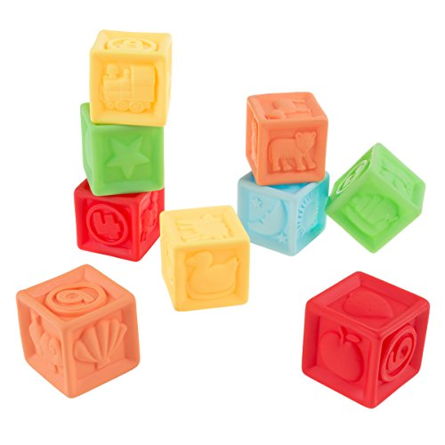 Hey! Play! 123 Soft Rubber Blocks-BPA-Free Colorful, Squeezable Numbers Building Block Set-Classic Educational Learning Toy for Babies and Toddlers
