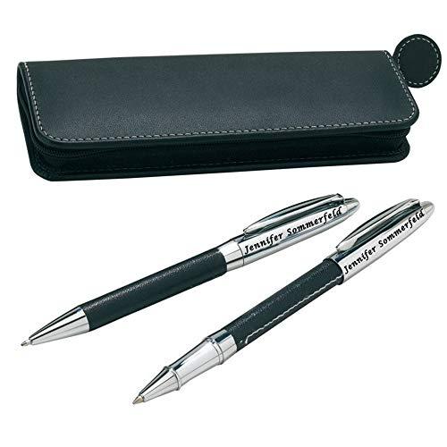 Juwelier Schönschmied - Schreibset mit Gravur als Geschenk inklusive Geschenk-Etui - Drehkugelschreiber & Rollerball (blauschreibend) Schreibset 3 PS3