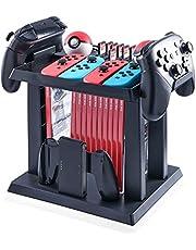 Soporte Almacenamiento Juego de la Torre para Nintendo Switch Console, Disc, Poke Ball, Joy&con, Pro Controller, Cartuchos de Juegos Controlador de Host - Negro