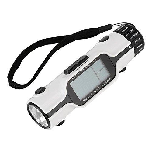 Fdit Digitale led-zaklamp met wereldklok voor op reis, wekker voor verschillende tijdzones, buitenthermometer met verlicht display