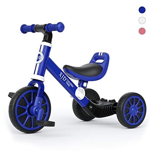 XJD 3 EN 1 Triciclo para Niños Bicicleta para bebé 1-3 años con Pedales Desmontables Asiento Elevador para Ajustar Alturas Regalo de cumpleaños (Azul)