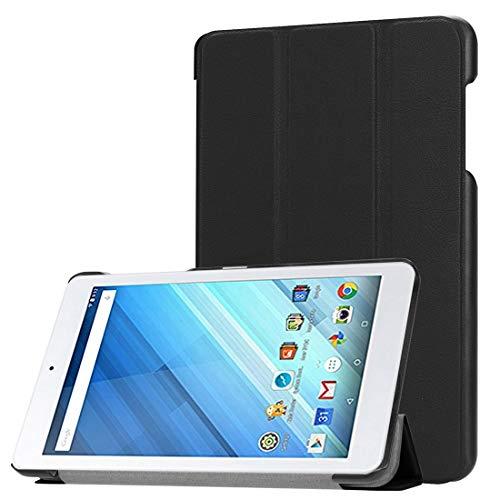 YUNCHAO Caso para Tableta For Acer Iconia One 8 B1-860 Tablet, Tri-Fold Custer Textura Horizontal Flip PU Funda Protectora de Cuero con Soporte Estuche Protector de tabletas (Color : Black)