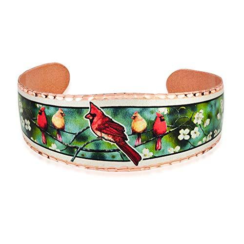 Pulseras de pájaro cardenal rojo pulseras de brazalete abierto joyería de cobre artesanal, regalos...