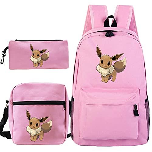 YSTSPYH Mochila 2021 Moda 3pcs / Set Bolsas Escolares para Adolescentes Chicas niñas bagpack Mujeres Hombres Mochilas (Color : 1, Size : 3Pcs Set)