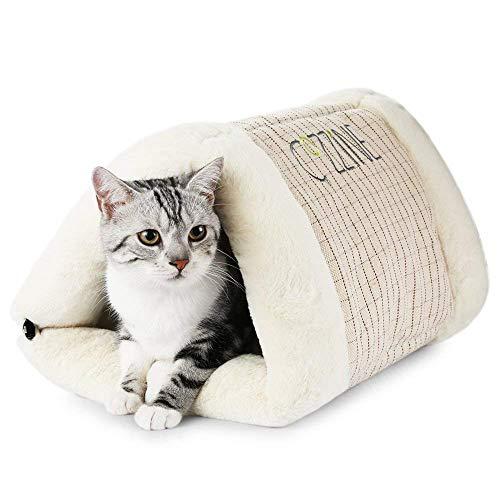 GBlife Casa para Mascotas Desmontable Cama para Perro Pequeño y Gatos Mascota Antideslizante Plegable Suave Calentar con Cojín Extraíble Cama Creativas (L, Café)