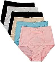 Women's 6 pack Travel Zipper Pocket Panties, Assorted, XL
