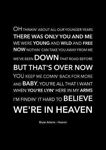 Bryan Adams – Heaven – Schwarzes Songtext-Poster – A4 Größe